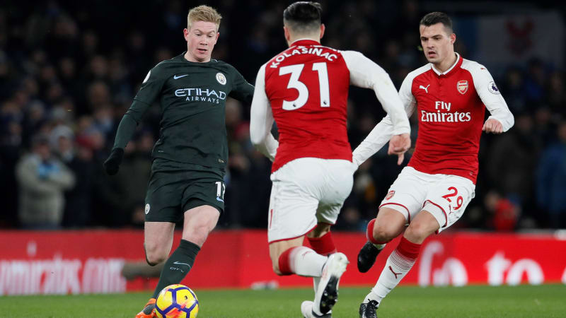 Image result for Manchester City 3-0 Arsenal in Premier League 2/3/2018