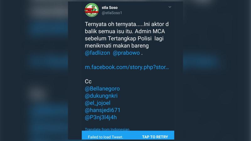 Cuitan Hoaks tentang MCA dan Prabowo