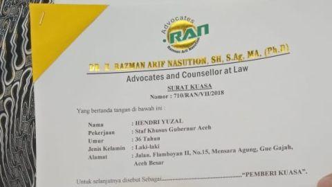 Surat kuasa Razman Arif Nasution, Hendri Yuzal