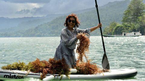 Minister Susi harvest seaweed in Fakfak East