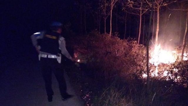 Lagi, Semak Belukar Hutan Jati di Ngasem Bojonegoro Terbakar