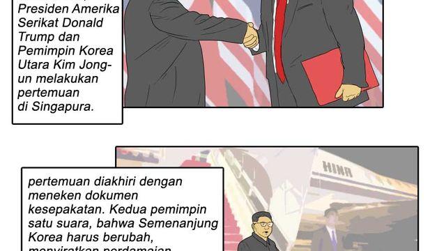 Komik: Tentang Kopdar Trump-Kim, Janji Perdamaian, Hingga Pujian Presiden China Kepada Kim