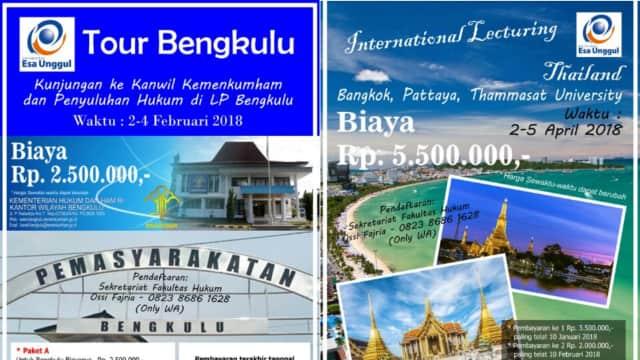 Yuk Ikut Tour Ke Thailand dan Bengkulu Bareng Fakultas Hukum Esa Unggul