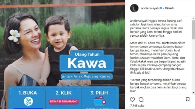 Andien Ajak Publik Beri Kado Donasi di Momen Ulang Tahun Pertama Kawa