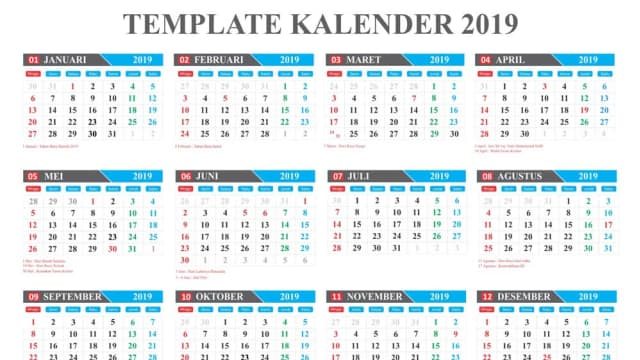 Download Template Kalender 2019 Editabel Coreldraw