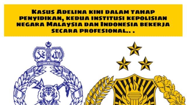 Kepolisian Indonesia dan Malaysia Tangani Kasus Pembunuhan Adelina