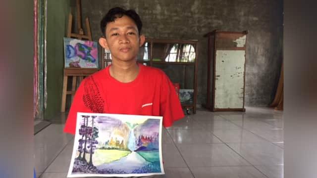 Kisah Seorang Difabel di Medan yang Kini Jadi Pelukis