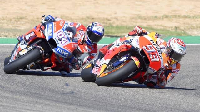 MotoGP Aragon: Menangi Duel Ketat dengan Dovizioso, Marquez Jadi Juara