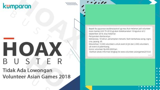 Hoaxbuster: Tidak Ada Lowongan Volunteer Asian Games
