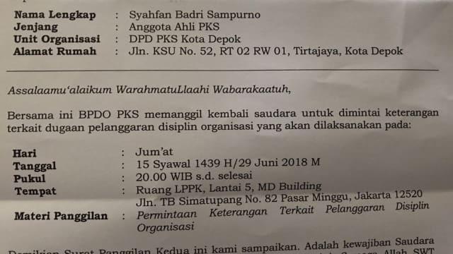 5 Elite PKS Era Anis Matta Dipanggil Badan Disiplin Partai