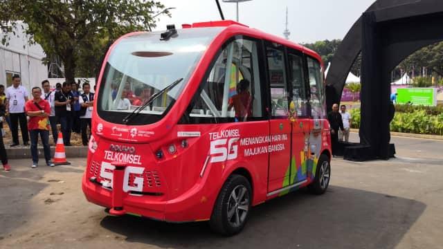 Video: Aksi Bus Tanpa Sopir Milik Telkomsel di Asian Games 2018