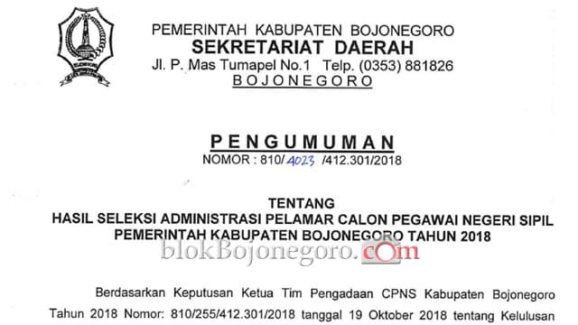 Inilah Daftar Lolos Administrasi CPNS Bojonegoro