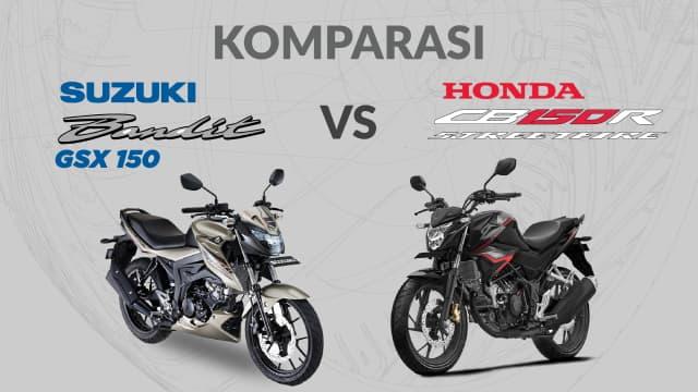 Adu Spesifikasi dan Fitur Suzuki Bandit dengan Honda CB150R