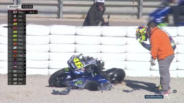 Motor Rossi Hancur Usai Alami Crash Pada Tes MotoGP 2018 di Valencia