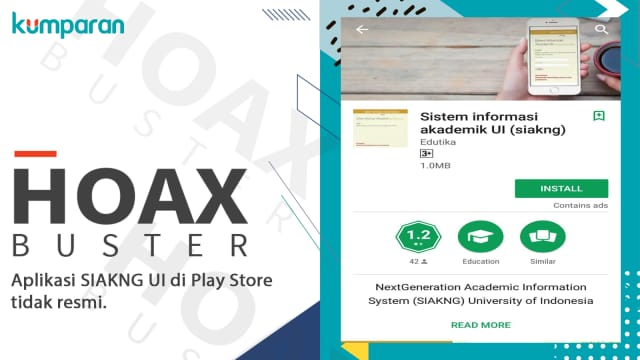 UI Pastikan Aplikasi SIAK NG di Playstore Hoax