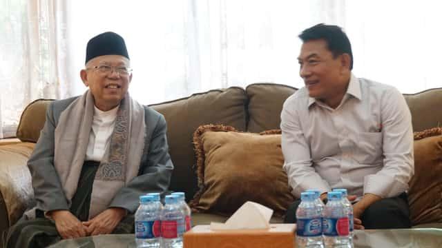 Ma'ruf Amin Sambangi Posko Cemara Disambut Deddy Mizwar dan Moeldoko