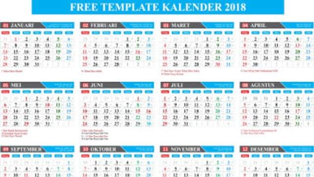 Template Gratis Kalender Lengkap 2018 Format Coreldraw Editable