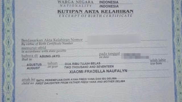 Bayi di Lampung Diberi Nama 'Xiaomi,' Ayahnya Seorang Mi Fans Sejati